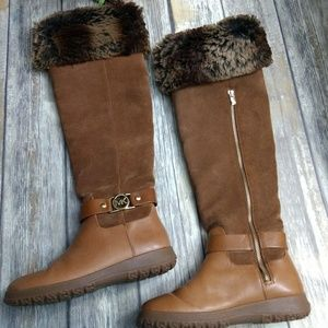 Michael Kors suede leather faux fur trim boots